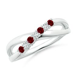 Natural Round Garnet And Diamond Crossover Ring In 14k Gold/platinum