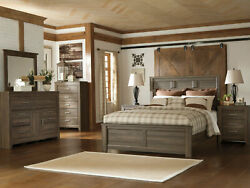Modern Cottage Brown 5 piece Bedroom Set Furniture w/ King Size Panel Bed IA07