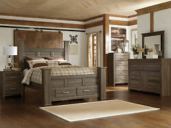 MARCO 5 pieces Modern Cottage Brown Queen Poster Storage Bedroom Furniture Set