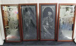 4 Antique/Vtg FOUR SEASONS Art Nouveau Acid etched MIRRORS Panels 34