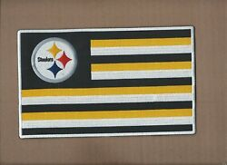 New 5 5/8 X 9 1/8 Inch Pittsburgh Steelers Flag Iron On Patch Free Shipping P1