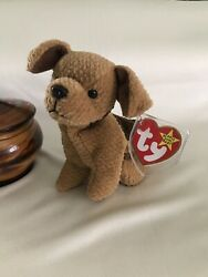 TY BEANIE BABY TUFFY THE DOG.  Rare Retired Brown Terrier