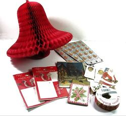 Vintage Christmas Lot Paper Honeycomb Tissue Bell Tags Ribbons Seals Epherma