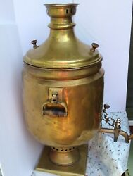 Russian 34 High Antique Vintage Brass Samovar Commercial Or Party Size And Works