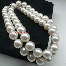 Big Aaa++ Long 3513-14mm Round Real Natural South Sea White Pearl Necklace 14k