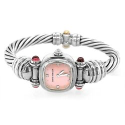 David Yurman Watch Sterling Silver Cable Rope Mother Of Pearl - Estate Jewelry