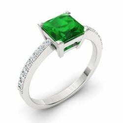 Certified 6mm Natural Princess Green Emerald And Diamond Ring 14k White Gold