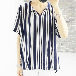 Womens Summer Striped Blouses Loose K-fashion Tops Short Sleeve Shirts Plus Size