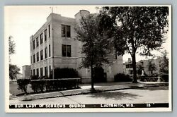 Ladysmith Wisconsin Our Lady Of Sorrows Church Real Photo Postcard Rppc 1930-50