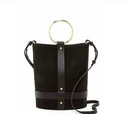 Vince Camuto Ashbe Leather Bucket Bag Black Leather Suede $105.99