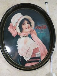 Vintagebetty Girl - Coca-cola - 15 Oval Metal Serving Tray Repo Of 1914 Ad.