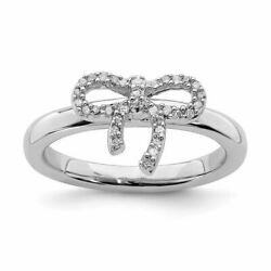 Stackable Expressions Sterling Silver Bow Diamond Ring Msrp306