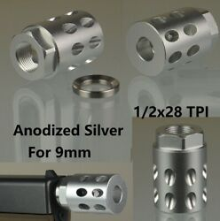 High Quality 1/2x28 Tpi Muzzle Brake Compensator Anodized Silver For 9mm Glock
