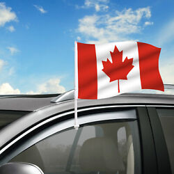 Canada Car Flag, 18 X 12 Country Car Window Clip On Flag, Graphic+hardware
