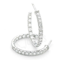Cyber Monday 1.27ct Natural Round Diamond White Gold Snap Closure Hoops Earring