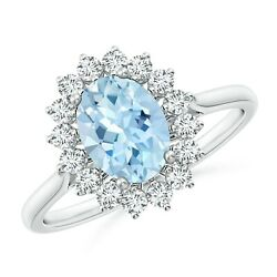 1.4ctw Oval Aquamarine Ring With Floral Diamond Halo In 14k Gold/platinum