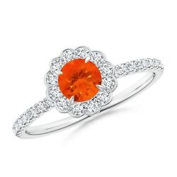 Vintage Style Fire Opal Flower Ring With Diamond Accents In Gold/platinum