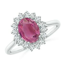 1.65ctw Oval Pink Tourmaline Ring With Floral Diamond Halo In 14k Gold/platinum
