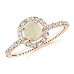 0.6ctw Floating Opal Halo Ring With Diamond Accents In 14k Gold/platinum