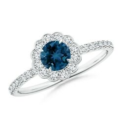 Vintage Style London Blue Topaz Flower Ring With Diamonds In Gold/platinum