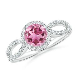 Vintage Style Pink Tourmaline Split Shank Ring With Halo In Gold/platinum