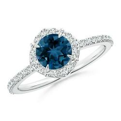 Vintage Style Claw-set Round London Blue Topaz Halo Ring In Gold/platinum