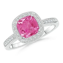 Cushion Pink Sapphire Engagement Ring With Diamond Accents In Gold/platinum