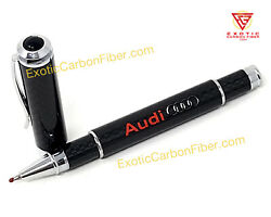 Audi Red Text And Silver Logo Carbon Fiber Ballpoint Pen - Great Gift