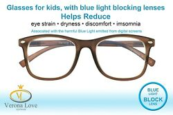 KIDDO Blue Light Blocking Lens Computer Kids Glasses 0.00 Magnification Brown $14.99