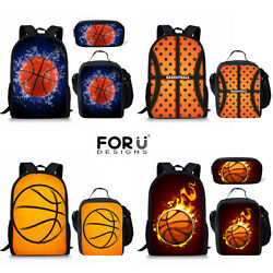 Basketball Print School Backpack One Set Lunch Bag Tote Laptop Travel Rucksack