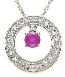 Black Friday 0.80ct Natural Round Diamond Ruby 14k Solid Yellow Gold Pendant