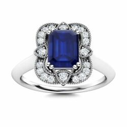 Certified Vintage Style Blue Sapphire Engagement Ring W/ Diamond 14k White Gold