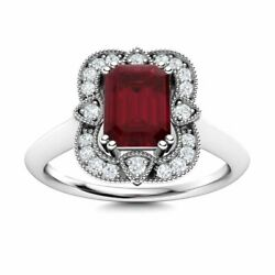 Certified Vintage Style Natural Ruby Engagement Ring W/ Diamond 14k White Gold