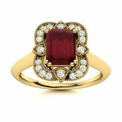 Certified Vintage Style Natural Ruby Engagement Ring W/ Diamond 14k Yellow Gold