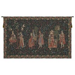 Courtly Galanteries Medeival Garden Noble Ladies Woven Tapestry Wall Hanging
