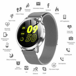 Waterproof Smart Watch W/ Call Text Email Notifications Steel Band Magnet Buckle