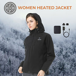 ORORO Women Cordless Heated Jacket Kit Slim Fit Outdoor Coats With Battery Pack