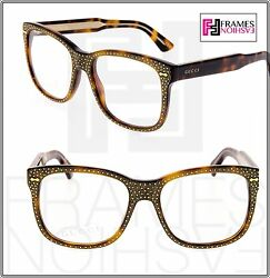 GUCCI RHINESTONE Crystal 3871 Square Brown Gold Frame RX Glasses GG3871S