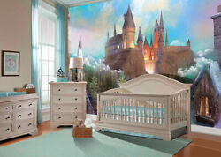 Pink Magic Wizards Castle - Removable Sticky Mural, Peel And Stick Wallpaper, Pvc