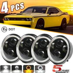 Dot 5.75 5-3/4 Inch Round Led Headlight 4pc Hi Lo For Dodge Charger Coronet