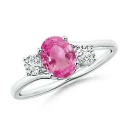 Bypass Pink Sapphire And Diamond Three Stone Ring In Silver/gold/platinum