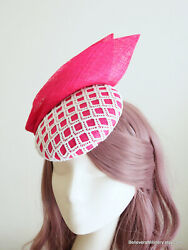 Pink Sinamay Hat White Lace Button Fascinator Wedding Guest Race Melbourne Cup