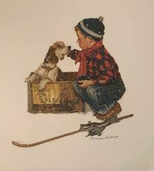 Norman Rockwell Love At First Sight Puppy Love Suite HS # Litho on Paper Framed