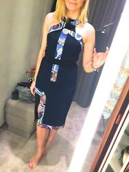 Peter Pilotto Andpound1200...dress Navy Pencil Party Wiggle Classic 8 36 Designer
