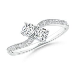 0.45ctw Vintage Inspired Two Stone Diamond Bypass Ring In 14k Gold/platinum