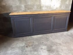 Shop Counter In Anthracite Gray Lacquer - Restored