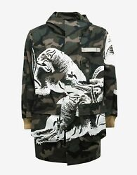 New Valentino Green Camo And Panther Print Parka Bnwt Rrp Andpound2250