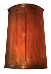C. 1790 Hepplewhite English Bow Front Corner Cabinet W/ Inlay And Brass H Hinges
