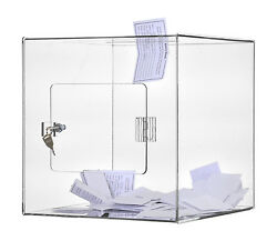 Clear 12 X 12 Locking Ballot Donation Suggestion Box Contest Cube Qty 12
