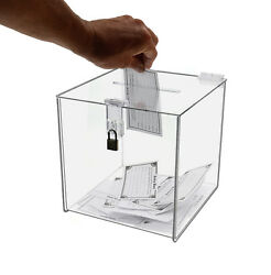 Clear 8 X 8 Locking Ballot Donation Suggestion Box Contest Cube Qty 6
